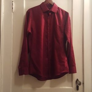 Maroon button up dress shirt